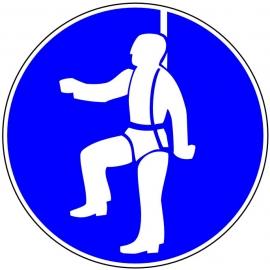 """Panneau obligatoire circulaire """"Protection individuelle obligatoire contre la chute"""""""