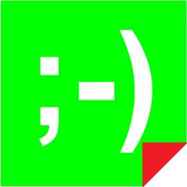 Smiley Web Verte / Rouge Double Face Magnétique