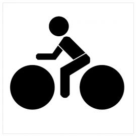 """Pochoir """"Réservé aux cyclistes"""" - Pictogrammes au sol"""