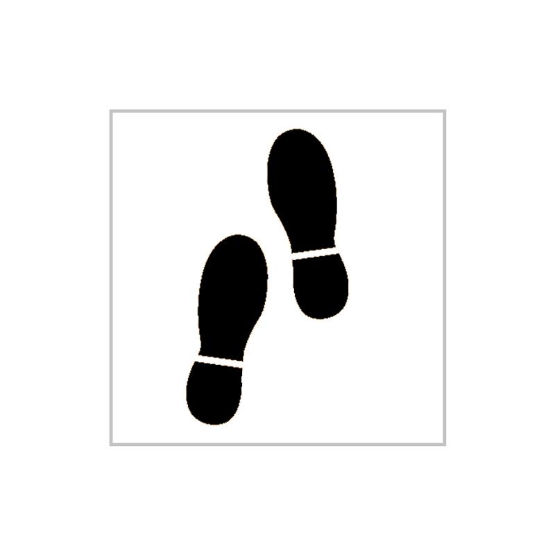 pochoir empreintes de pas pictogramme au sol. Black Bedroom Furniture Sets. Home Design Ideas