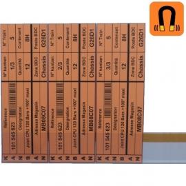 lot de 10 Porte-étiquettes PVC transparents Magnétiques- 1m x 44mm