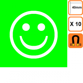 Lot de 10 Smileys ECO simples faces -Vert ou Rouge
