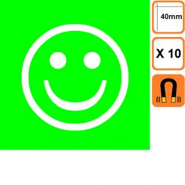 Lot de 10 Smileys ECO simples faces -Vert ou Rouge