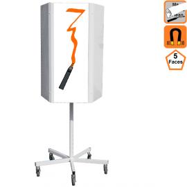 Totem effaçable 5 faces rotatif, magnetique sur roulettes - Panneau de communication
