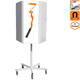 Totem effaçable 6 faces rotatif magnétique sur roulettes - Panneau de communication
