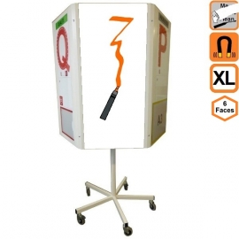 Totem 6 XL (extra large) effaçable 6 faces rotatif magnétique sur roulettes