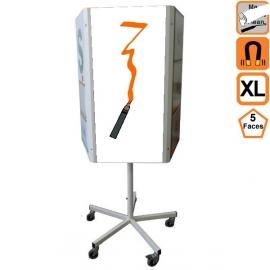 Totem 5 XL (extra large) effaçable 5 faces rotatif magnétique sur roulettes