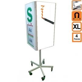 Totem 4 XL (extra large) effaçable 4 faces rotatif, magnetique sur roulettes - Tableau de communication