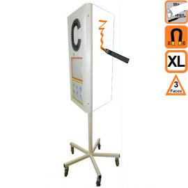 Totem 3 XL (extra large) effaçable 3 faces rotatif magnetique sur roulettes - Tableau de communication