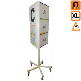 Totem 3 XL (extra large) 3 faces rotatif magnetique sur roulettes - Tableau de communication