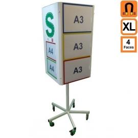 Totem 4 XL (extra large) 4 faces rotatif, magnetique sur roulettes - Tableau de communication