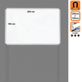 Tableau 200x100 Emaillé Magnétique en position Paysage avec platines
