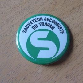 Badge SST (Sauveteur Secouriste du Travail) rond 55mm avec épingle