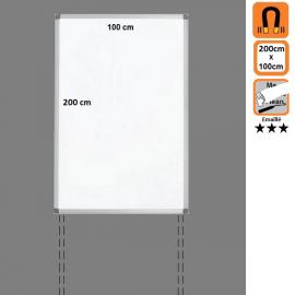 Tableau 200x100 Emaillé Magnétique en position Portrait avec platines