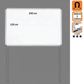Tableau 240x120 Emaillé Magnétique en position Paysage avec platines