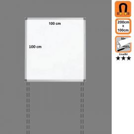 Tableau 100x100 Emaillé Magnétique en position Paysage avec platines