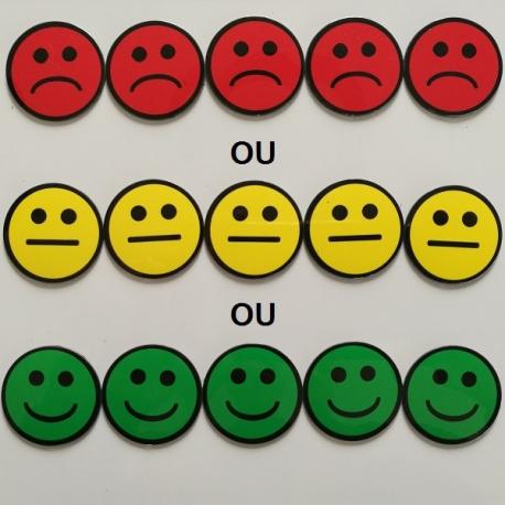 Lot De 5 Smileys Ronds Simples Faces Magnetiques De 50mm