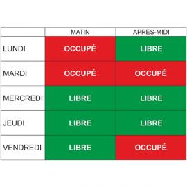 Planning de disponibilité de salle par demi-journée + 10 magnets R/V Libre/Occupé