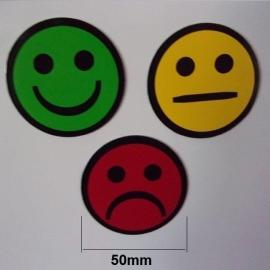 Lot de 3 Smileys ronds simples faces magnétiques de 50mm