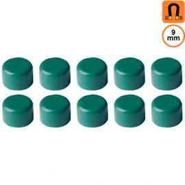 10 aimants verts - Diamètre 9mm