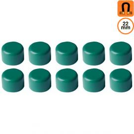 10 aimants verts - Diamètre 22mm