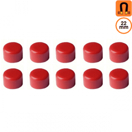 10 aimants rouges- Diamètre 22mm