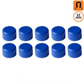 10 aimants Bleus - Diamètre 22mm