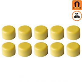 10 aimants jaunes - Diamètre 22mm