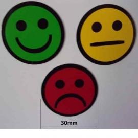 Lot de 3 Smileys ronds simples faces magnétiques de 30mm