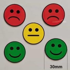 Lot de 5 Smileys ronds simples faces magnétiques de 30mm