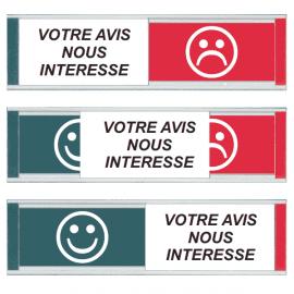 Grand Modèle Plaque de Porte - Votre avis nous intéresse - Smiley Vert / Smiley Rouge