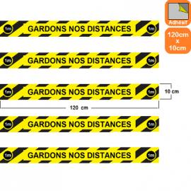 1 lot de 5 bandes rayées jaunes/noires autocollantes antidérapantes Covid-19 - Gardons nos distances - Marquage au sol