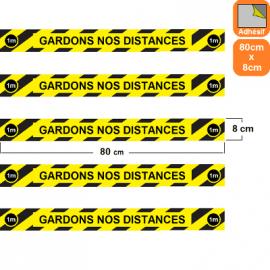 1 lot de 5 bandes rayées jaunes/noires autocollantes antidérapantes Covid-19-Gardons nos distances-Marquage au sol-80x8cm