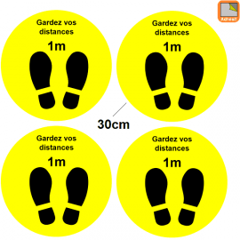 1 lot de 4 Stickers Covid-19 - Garder vos distances - Marquage au sol Coronavirus