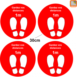 1 lot de 4 Stickers rond rouge Covid-19 - Garder vos distances - Marquage au sol Coronavirus