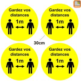 1 lot de 4 Stickers jaune Covid-19 - Gardez vos distances - Marquage au sol Coronavirus avec 2 personnages