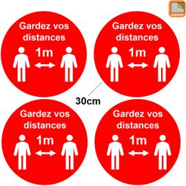 1 lot de 4 Stickers rond rouge Covid-19 - Garder vos distances - Marquage au sol Coronavirus avec 2 personnages