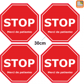1 lot de 4 Stickers STOP Covid-19 - Garder vos distances - Marquage au sol Coronavirus