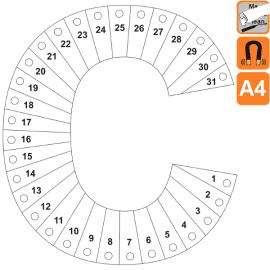 """Indicateur Visuel Blanc Coût """"C"""" magnétique, effaçable à sec - A4"""