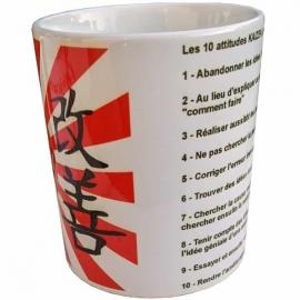 Tasse à café - Mug Kaizen - Amélioration Continue avec les 10 attitudes KAIZEN