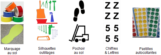 Marquage au sol avec autocollant ort, scotch autocollant, pastille, pochoir, chiffres autocollants, lettres autocollantes, silhouettes autocollantes