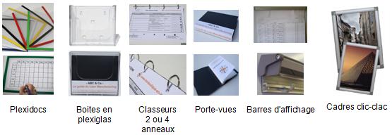 Plexidocs, porte-documents plexiglas, protege documents, classeurs 2 et 4 anneaux, smileys, porte-vues A6, barres affichage, cadre clic-clac