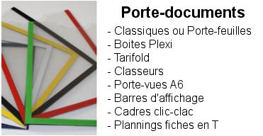 Porte-documents : Classiques ou en porte-feuilles, mural, classeurs, tarifold, barres affichage, vit