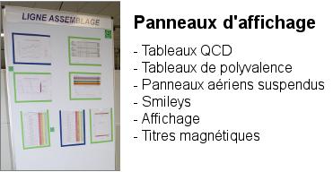 Panneaux d'affichage avec ses accessoires : Tableaux QCD, Tableaux de polyvalence, Smileys, affichag