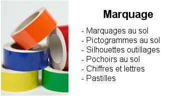 Marquage : Rubans adhésifs (continus ou discontinus), pictogrammes au sol, pochoirs au sol